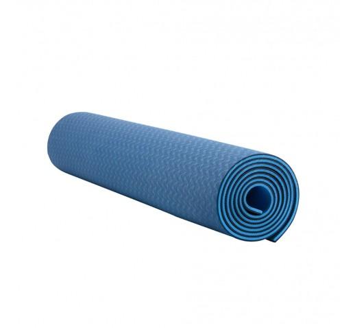 Коврик для йоги и фитнеса IVN 1830*610*6 мм TPE цвет сине-голубой
