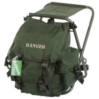 2 в 1 - Табурет туристический складной + Рюкзак Ranger RBagPlus FS 93112 (23л), зеленый